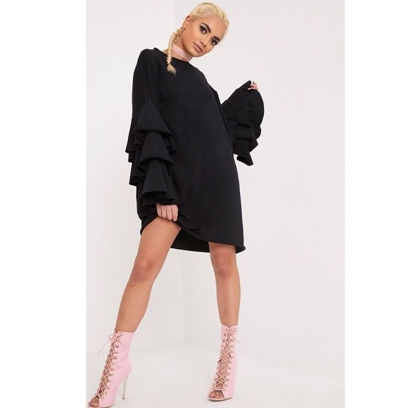 28f1ae2e30bf Black Frill Sleeved Oversized Sweater Dress..Black